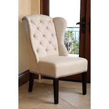 linen chair abbyson kyrra tufted linen wingback dining chair hayneedle