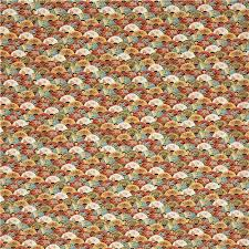 colorful scallop pattern flower gold metallic fabric by timeless