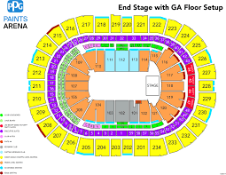 Fenway Park Seating Map Foo Fighters Ppg Paints Arena
