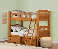 brown wooden crib bunk bed with double storage drawers and ladder