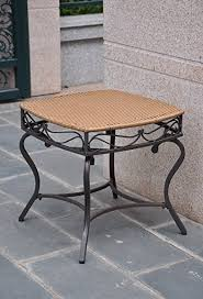 Patio Side Tables Metal Wicker Resin Steel Patio Side Table In Honey Finish