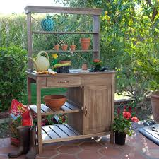 Inexpensive Potting Bench by Admirable Potting Bench With Rectangle Sink Under Open Shelves