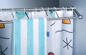 Amazon Curtain Rails 125 225cm Extendable Double Towel Shower Curtain Rail Rod In