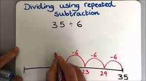 dividing as repeated subtraction with remainders youtube
