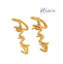 monogram earrings gold monogram earrings from handwriting 14k stud earrings