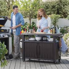 outdoor grill prep table outdoor keter unity xl bbq entertainment storage table and prep