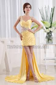 chic yellow beaded cocktail party dresses prom gown