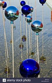 garden water balls reflection pond balls blue decoration