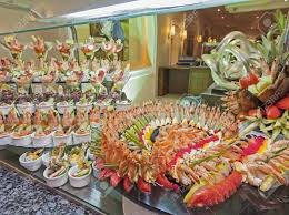 large seafood display at a restaurant buffet in luxury hotel stock