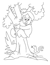 a boy is climbing on the tree coloring pages download free a boy