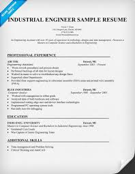 Sample Resume Engineer by Industrial Engineer Sample Resume Resumecompanion Com