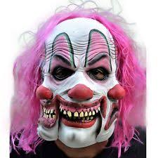 tri face pinky clown mask evil 3 face fancy dress halloween