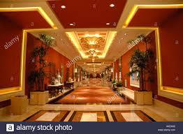 las vegas nevada wynn hotel interior hallway business center red