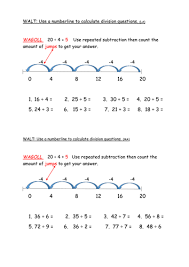 y2 3 division using repeated subtraction on a numberline by