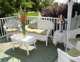 Gray Wicker Patio Furniture by Patio Elegant White With Stripe Design Wicker Patio Set For