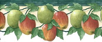 fruit red green apple apples die cut kitchen country wallpaper