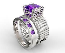 amethyst wedding rings amethyst wedding ring set unique princess cut purple amethyst