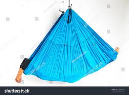 young woman lying blue hammock antigravity stock photo 220484533