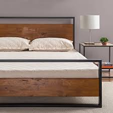 Iron And Wood Headboards Amazon Com Zinus Ironline Metal And Wood Platform Bed With