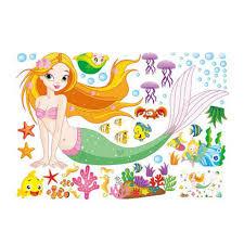 new 50 70cm cartoon mermaid wall sticker home decor poster for