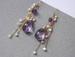 amethyst earrings pink amethyst earrings with dangle pearls in gold filled valltasy