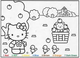 pretty design color by number pages hellokitty color coloring page