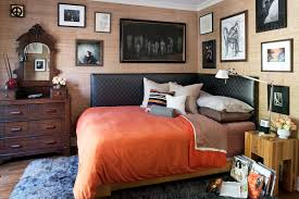 twin upholstered corner bed bedroom eclectic with nightstand iron