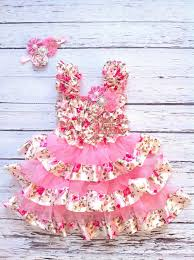 easter dress with matching headband in pink floral for baby