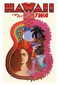 Hawaii travel art images Hawaiian guitar vintage hawaiian travel poster by david klein jpg