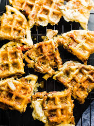 thanksgiving leftovers frittata waffles with a pan