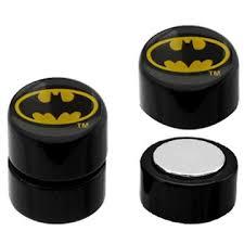 batman earrings batman oval logo faux magnetic earrings