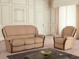 canapé et fauteuil cuir canapé et fauteuil en cuir beige ou chocolat ophelia