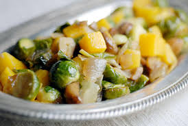 squash with brussel sprouts and chestnuts thanksgiving side dish