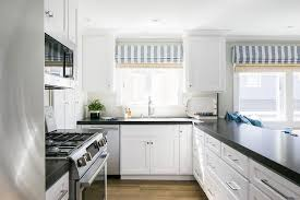 black and white striped l shade black and white kitchen with peninsula cottage kitchen