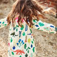 pretty dinosaur printed long sleeve kid dresses dudedino