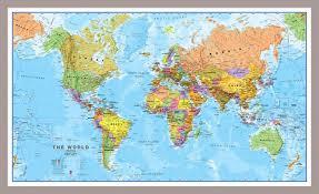 World Map With Flags Medium World Wall Map Political Pinboard U0026 Framed Silver