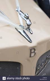bonnet or ornament and badge on a beauford wedding car stock