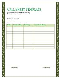 Sales Call Reports Templates Free by Sales Call Sheets Template Exles