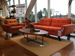 Orange Leather Sofa Set Brown Leather Couches Cozy Living Room With Wooden Oval Small