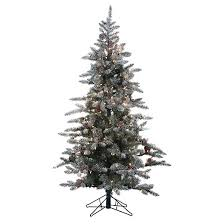 6ft pre lit artificial tree white flocked pine clear
