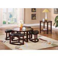patia 5 piece coffee table u0026 ottomans in espresso 80187 acme