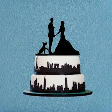 bride and groom cake topper silhouette cake topper with dog rustic