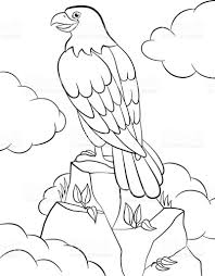coloring pages wild birds cute smiling eagle sits on the rock