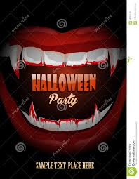 halloween club party poster with vampire teeth stock vector