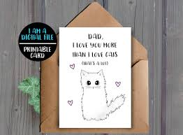 digital download funny card for dad printable cat father