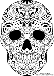 day of the dead sugar skull coloring page free printable