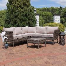 Patio Table Ls Sunnydaze Avel 4 Sofa Sectional Patio Furniture Set With