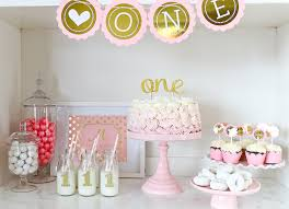 first birthday cake smash party pink and gold one year party
