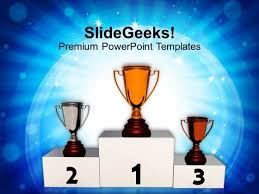 image of winner trophies podium powerpoint templates ppt