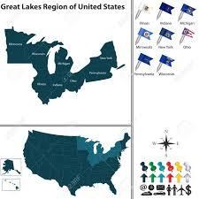 Map Of Great Lakes Vector Set Of Great Lakes Region Of United States With Flags